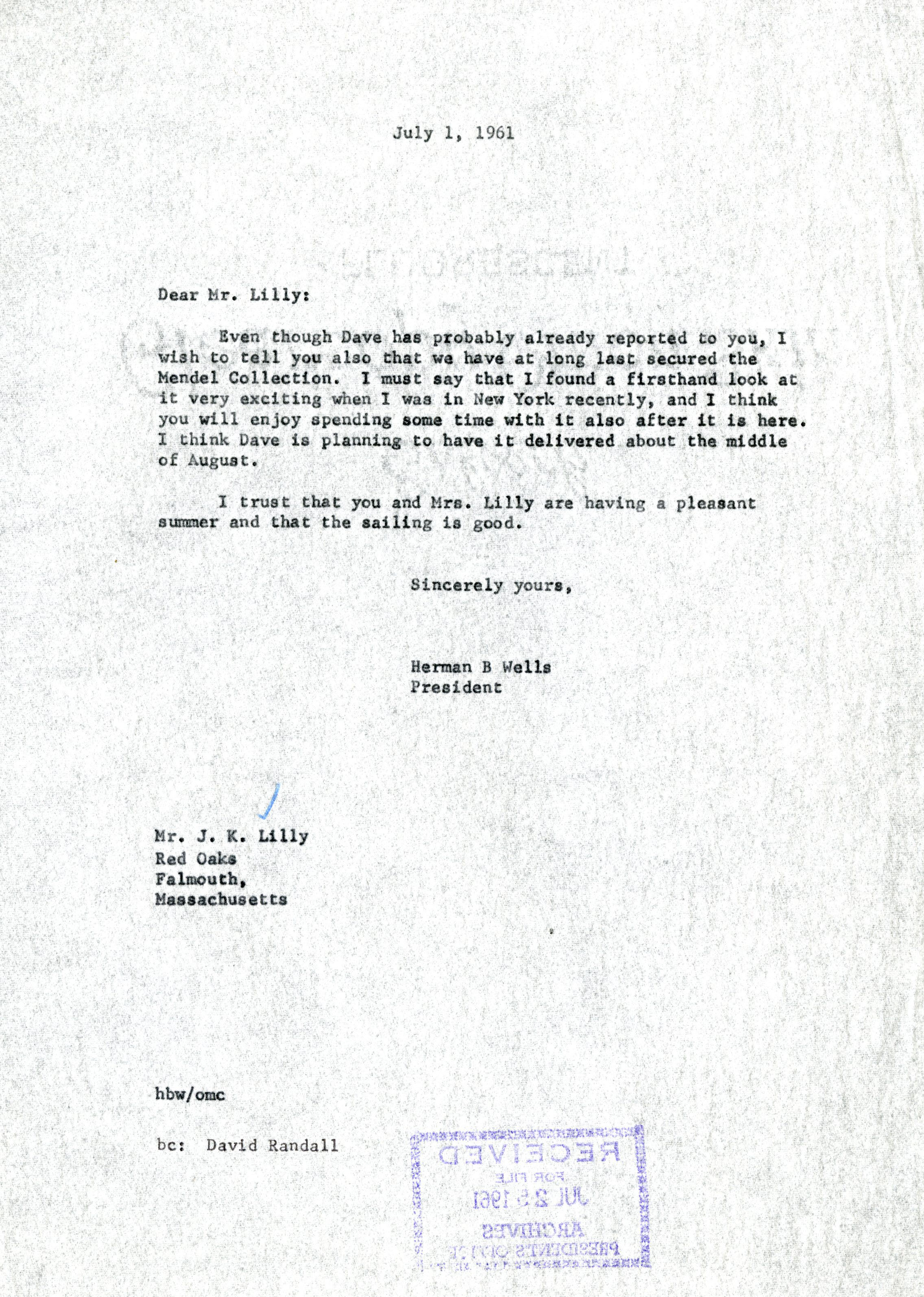 Sincerely yours page 2 blogging hoosier history below is a letter discussing the acquisition of the mendel collection one of the lillys many notable collections spiritdancerdesigns Choice Image