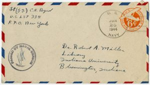 Air mail envelope addressed to Dr. Robert A. Miller from C. K. Byrd
