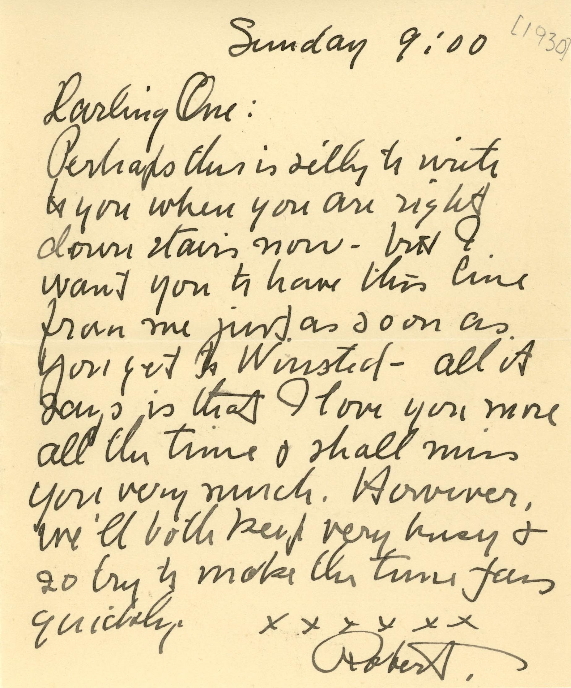 Robert Burke to wife Avis. IU Archives Collection C96.