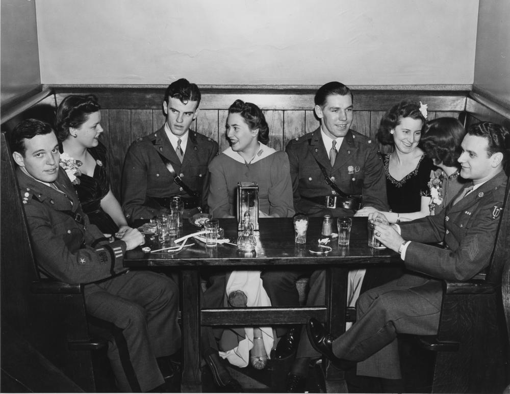 Students attend a Military Ball at the IU Commons in the former Student Building in 1941