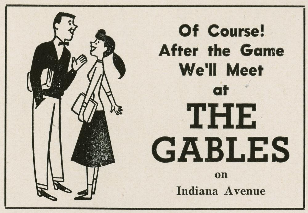 An advertisement for The Gables from an IU vs. Purdue football game program, 1955