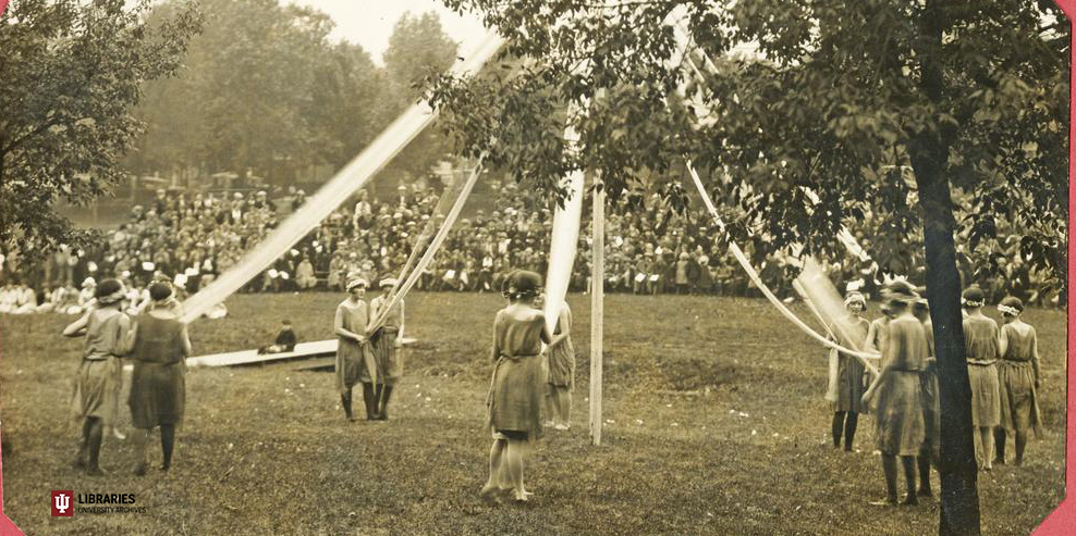 Students dancing at the May Festival in Dunn Meadow, circa 1930
