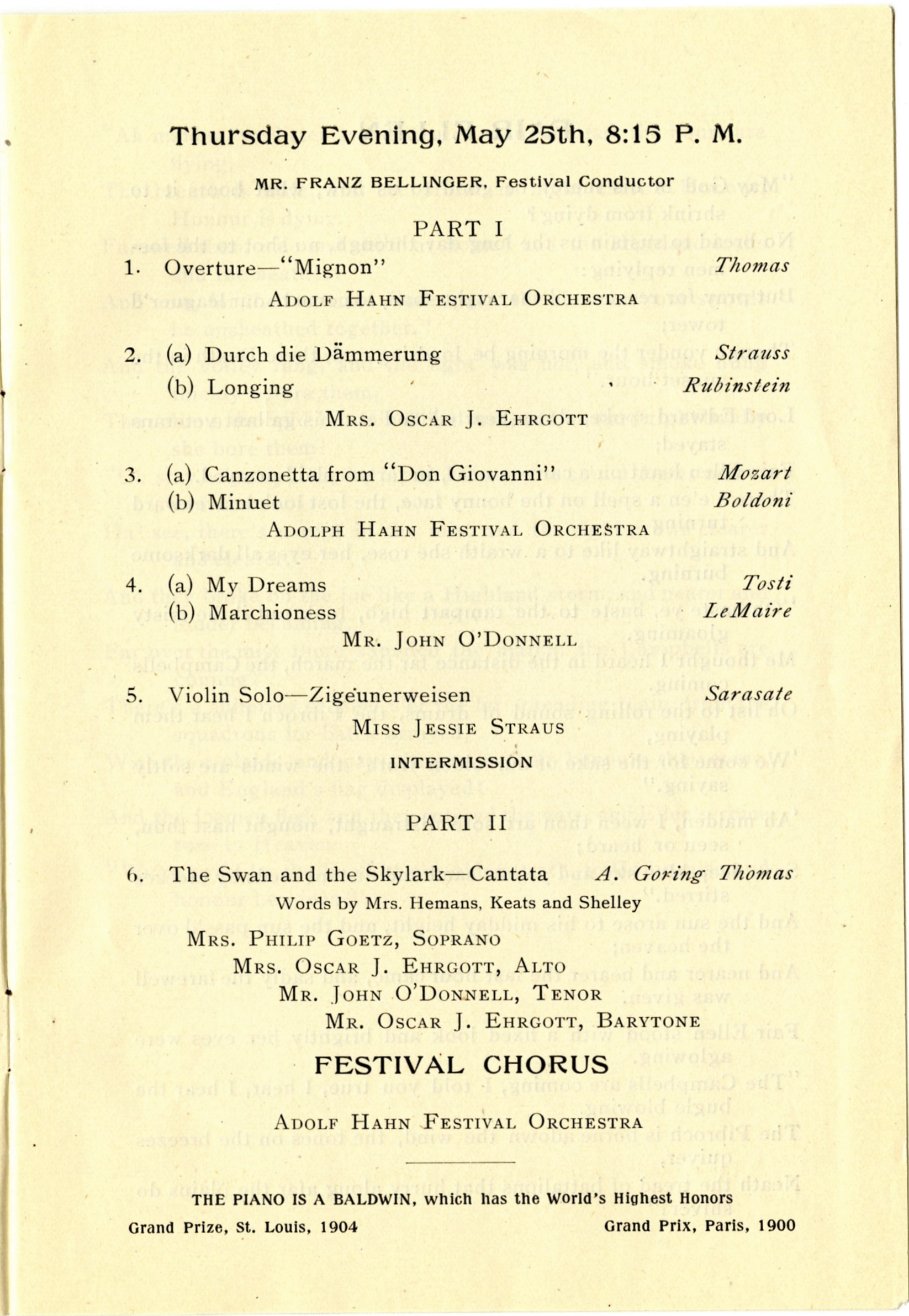 Section of the program for the 1905 May Festival, IU Archives
