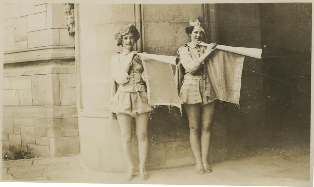 "May Day Festival participants Betty Higbee and June Hiatt, 1937. This image scanned from ""The Towers"" (yearbook / scrapbook / photograph album) compiled by residents of East Memorial Hall when it was a dormitory."