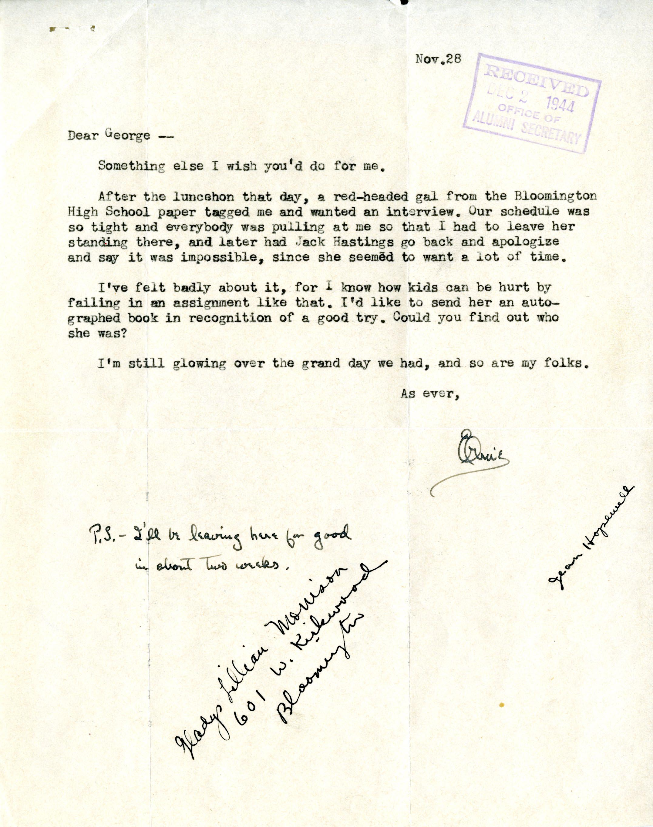 "Scan of original letter from Ernie Pyle to George ""Dixie"" Heighway, November 28, 1944"