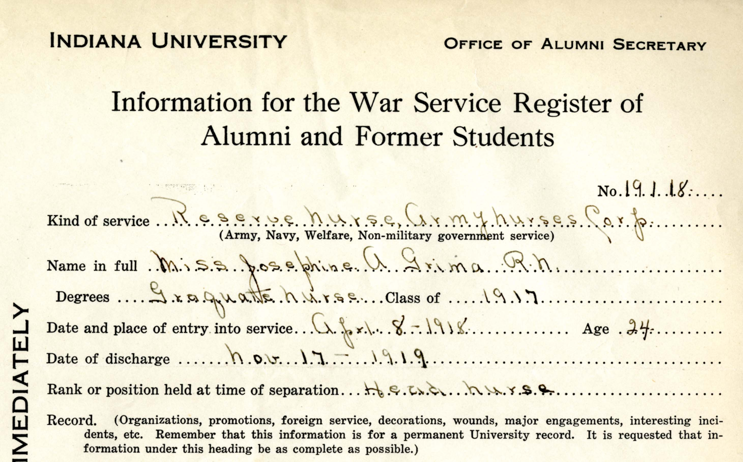 Segment of Grima's IU War Service Register entry.