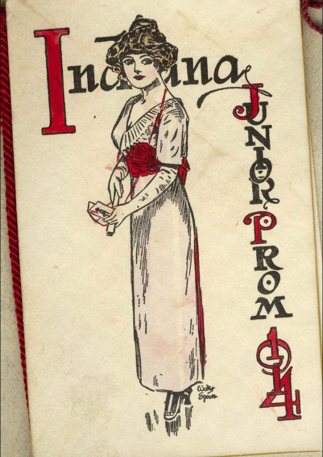"Dance card featuring a drawn woman with the words ""Indiana Junior Prom 1914"" drawn around in red and black"""
