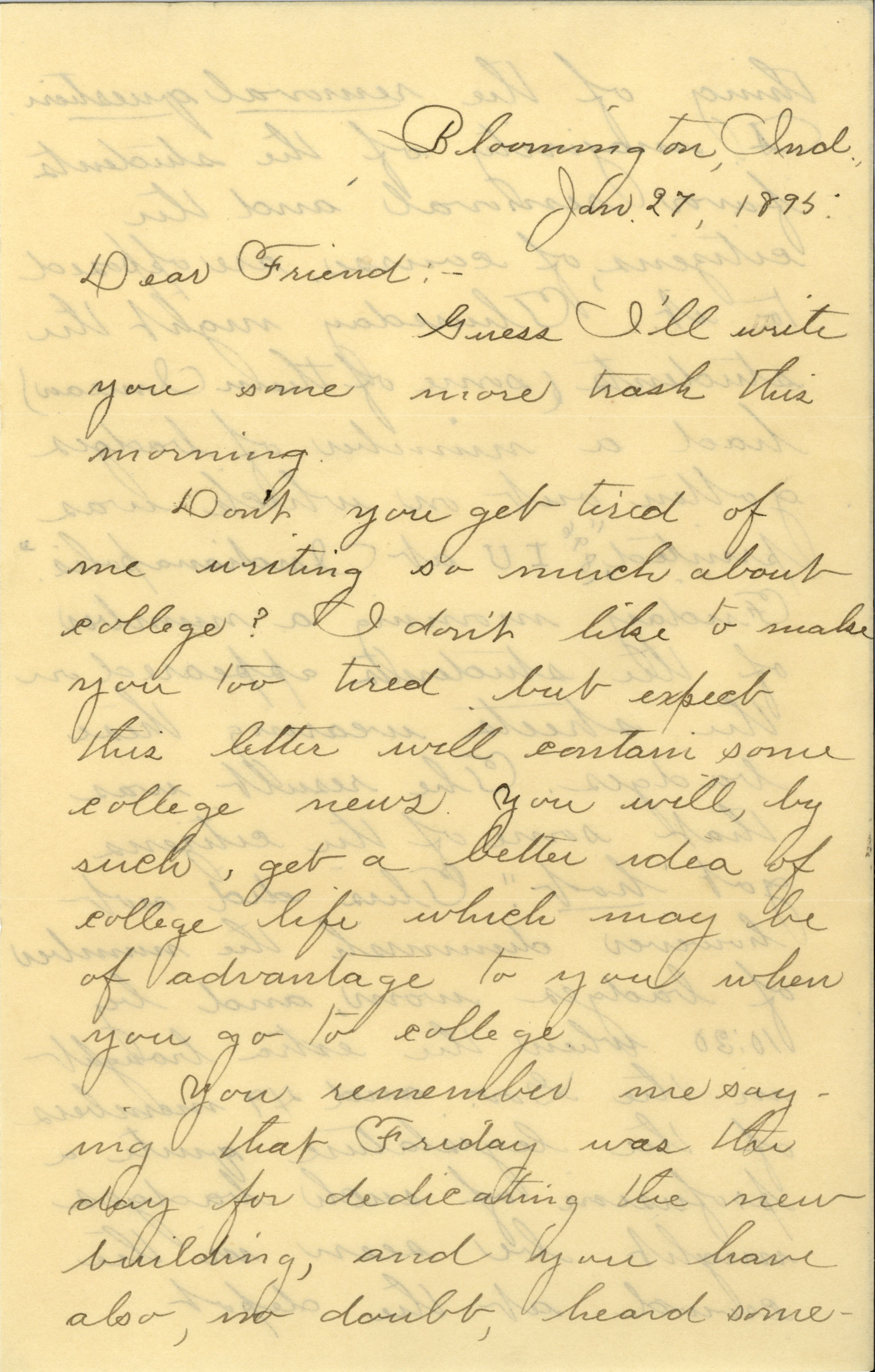 This is a scan of a letter from January 27, 1895 in cursive handwriting.