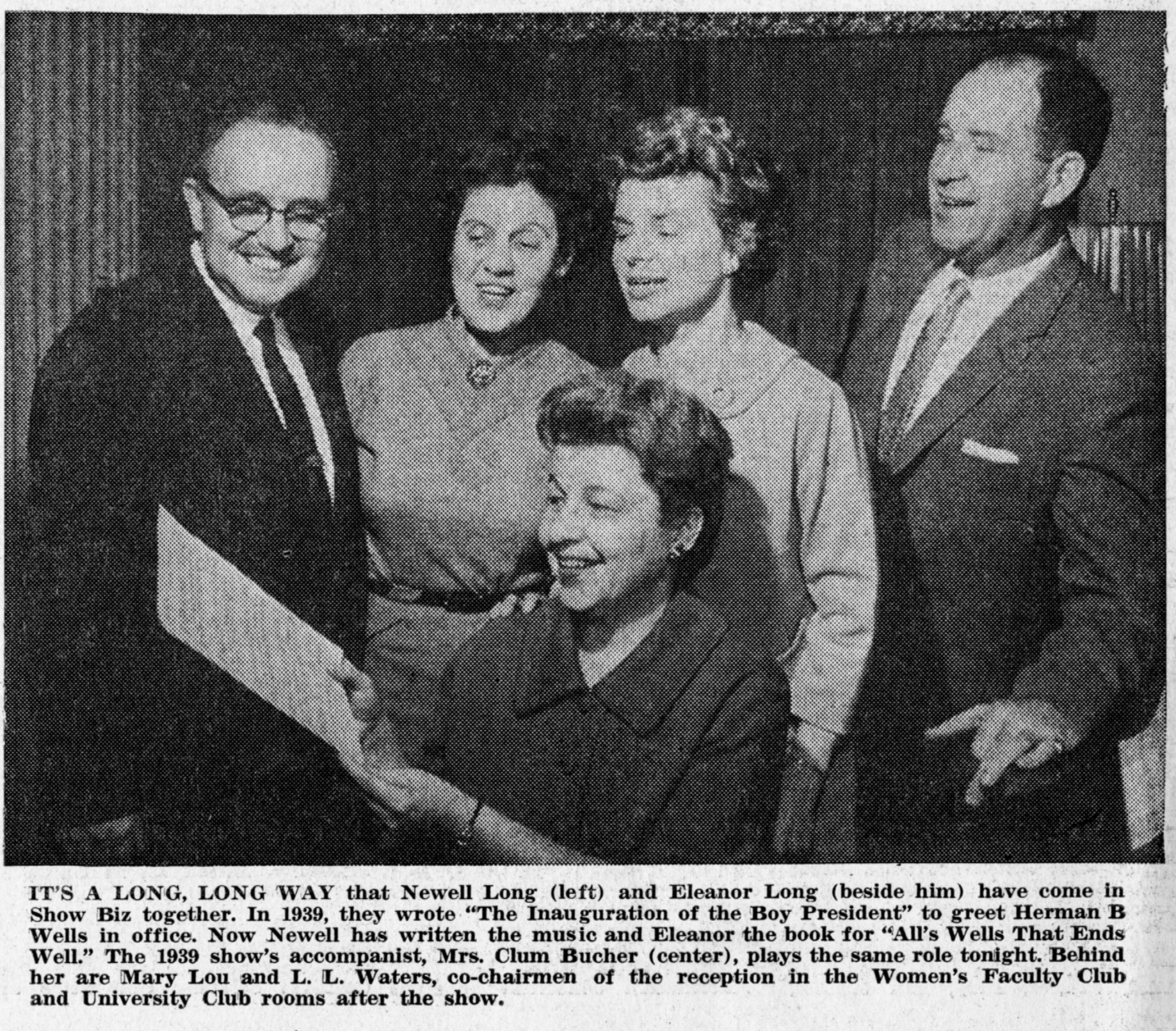Left to Right: Newell Long, Eleanor Long, Mary Lou Waters, L.L. Water, Mrs. Clum Bucher (Center)