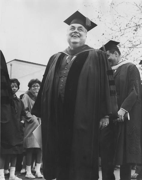 Herman B Wells dressed in academic regalia