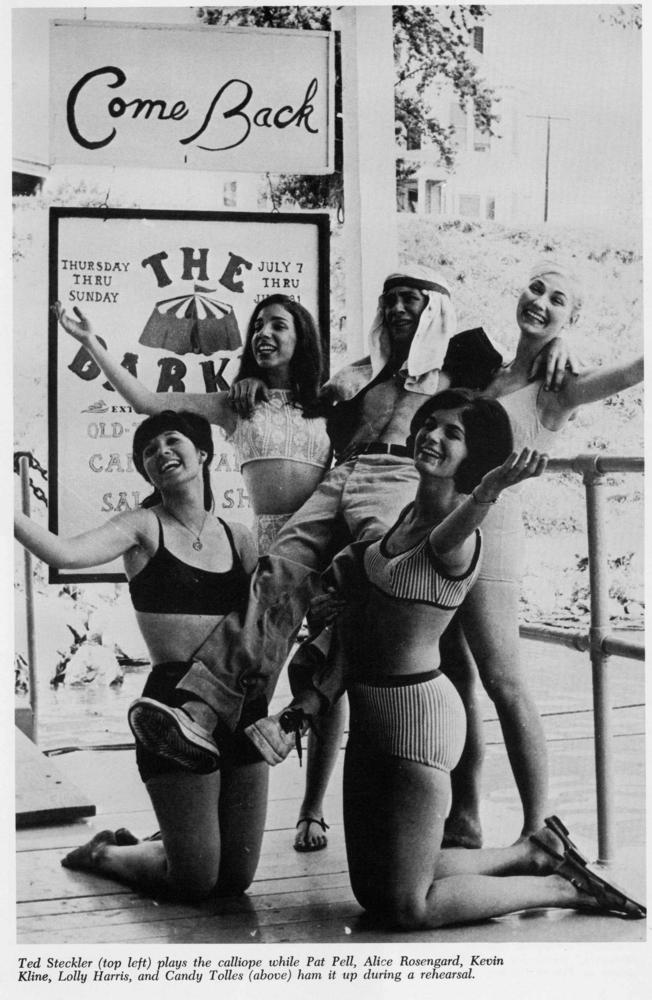 Black and white photograph of 5 cast members from the Showboat Majestic including Pat Pell, Alice Rosengard, Kevin Kline, Lolly Harris, and Candy Tolles.