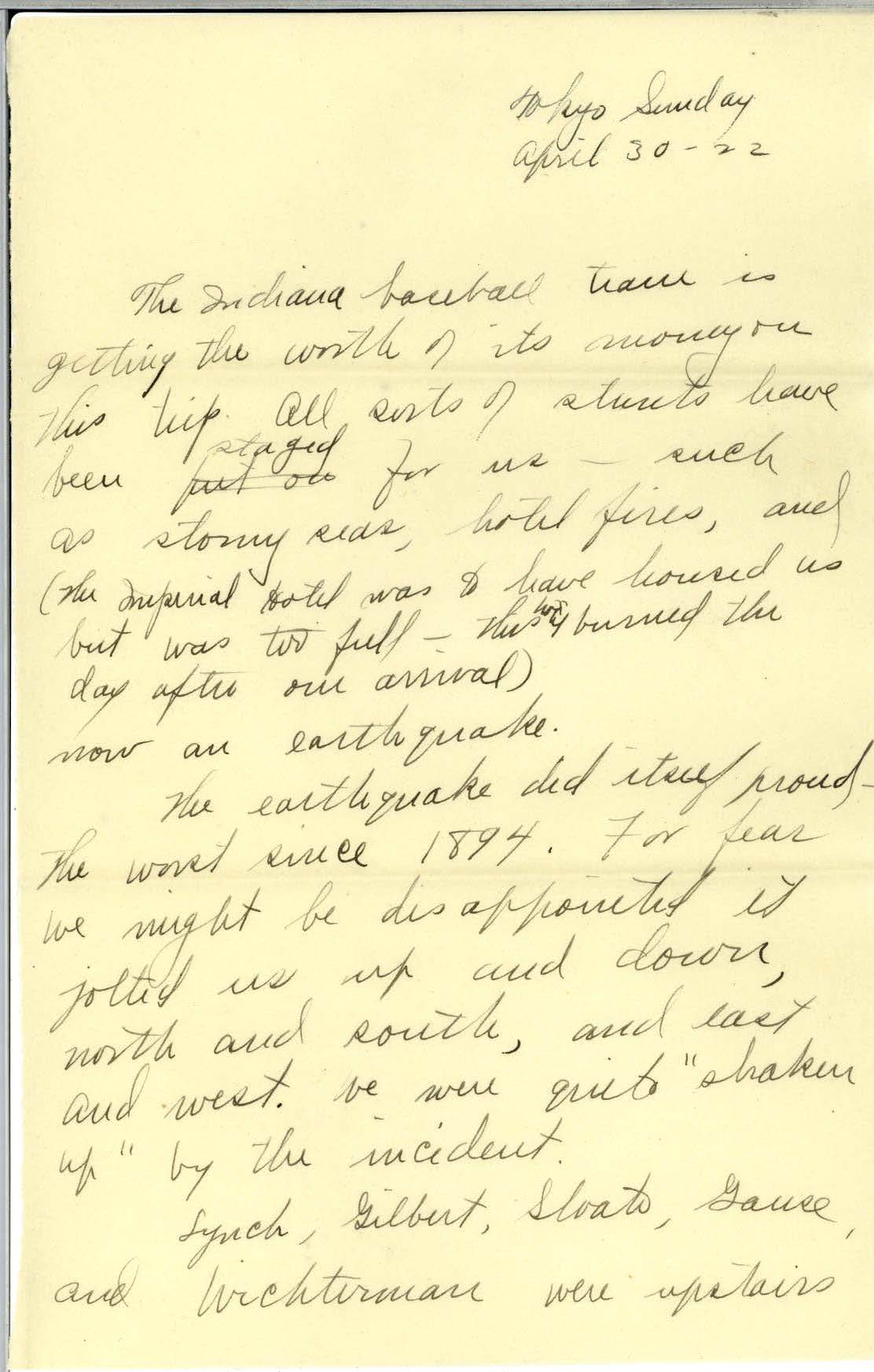 Scan of page 1 of Edna Hatfield's April 30, 1922 letter to Frank R. Elliot - written in cursive handwriting.