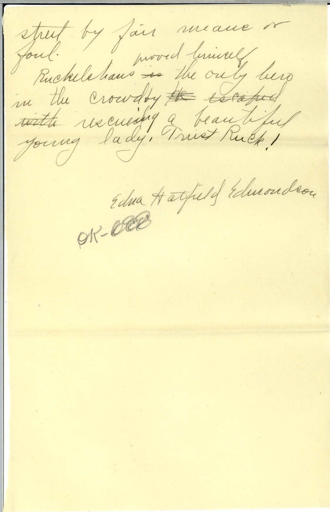 Scan of page 4 of Edna Hatfield's April 30, 1922 letter to Frank R. Elliot - written in cursive handwriting.