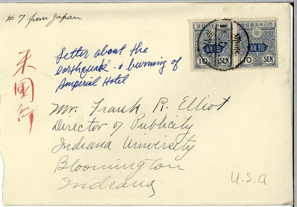 Scan of the envelope of Edna Hatfield's April 30, 1922 letter to Frank R. Elliot - includes Japanese stamps.