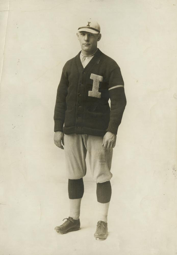Portrait of Leonard Ruckelshaus in his baseball uniform