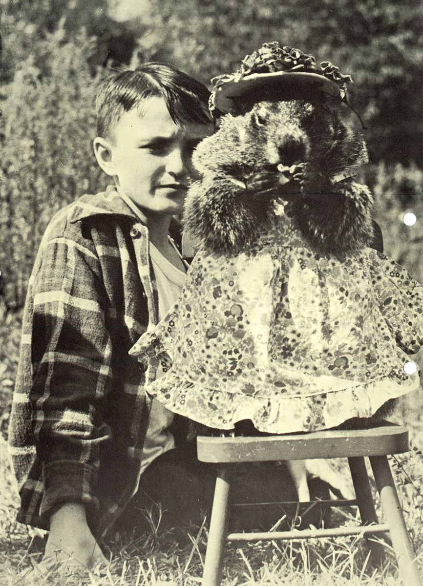 Black and white photograph of a child seated with a groundhog dressed in an apron and hat.