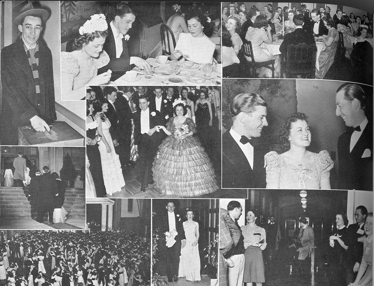 This is a black and white page spread from the Arbutus yearbook. Photographs show college couples dining over formal dinner, dancing, and 2 images show Barbara VanFleit and her date Donald Painter dancing.