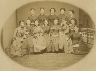 Female students at Indiana University, 1868.