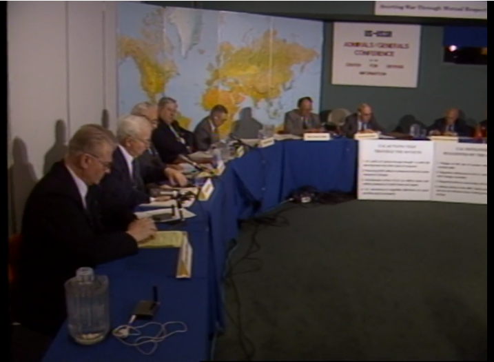 Screen capture from Grimshaw recording of Soviet and American military personnel roundtable on nuclear disarmament.