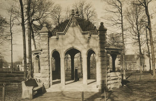 Front view of the Rose Well House in the middle of Dunn Woods covering the well pump