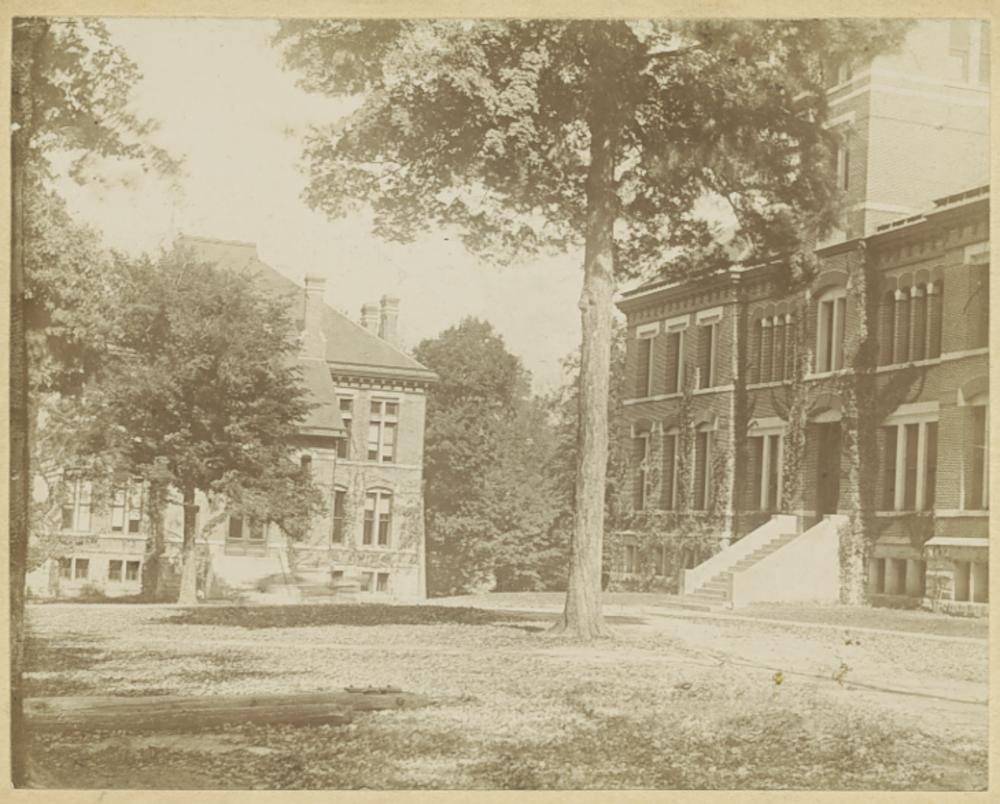 Sepia tone photo of Owen and Wylie Halls, looking north.