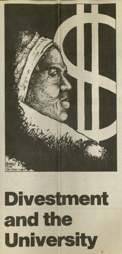 Art shows Black woman with head covering and dollar sign behind her.