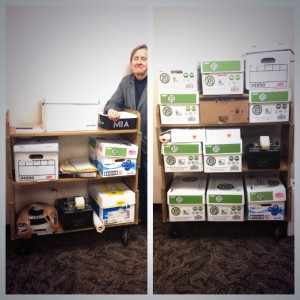 The History of the IU Libraries collection: Before and After photo of the sorting process