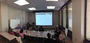 Research Now project team working through user stories for the History of IU Libraries digital archive