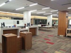 Second day of operation for the new Scholars' Commons reference desk