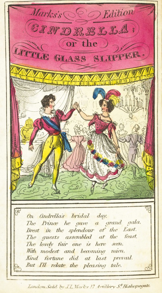 An early 19th-century chapbook of Cinderella with hand-colored engraved illustrations.  Students were particularly interested in the ways that illustrations of Cinderella reflected changing fashions and standards of female beauty over time.