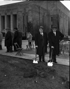 Herman B Wells and J.K. Lilly at the groundbreaking of the Lilly Library