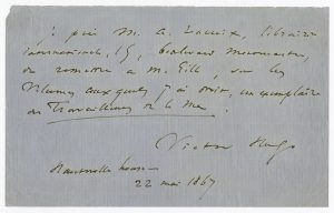 Letter from Victor Hugo, May 22, 1867.