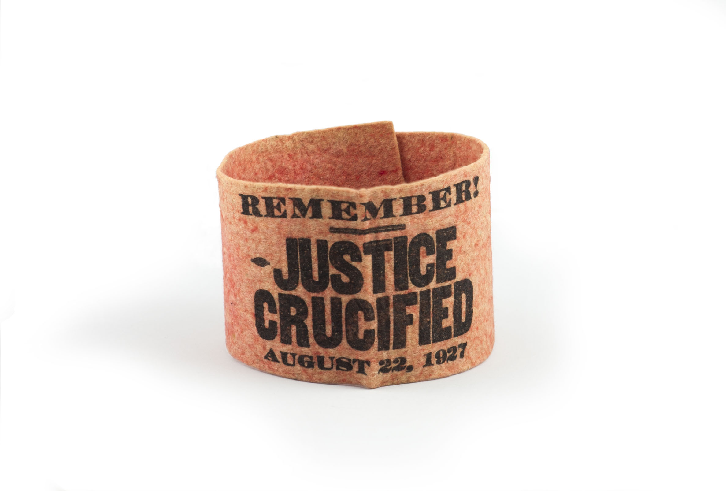 One of the red arm bands worn by mourners at Sacco and Vanzetti's funeral