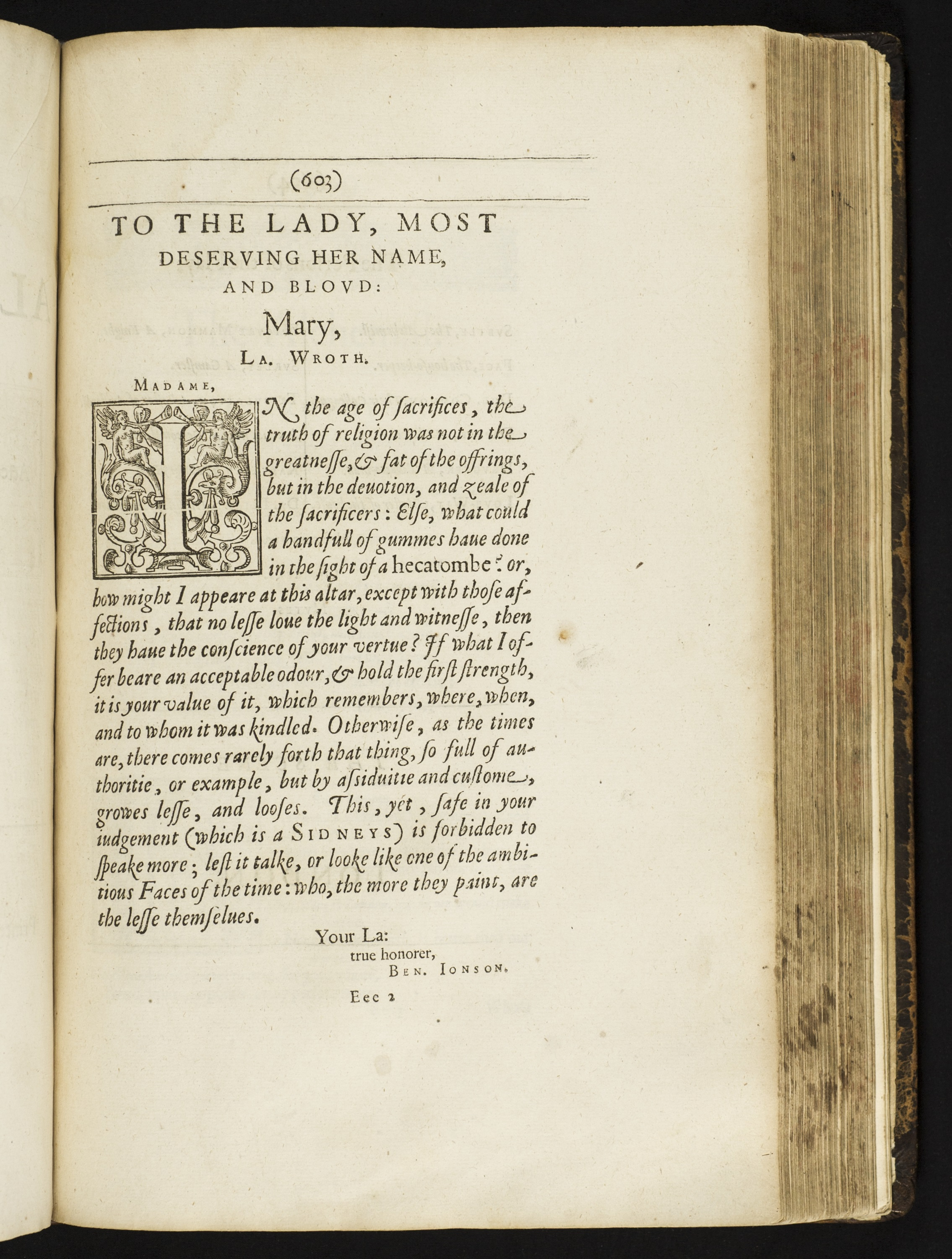 Image of letter to Mary Wroth