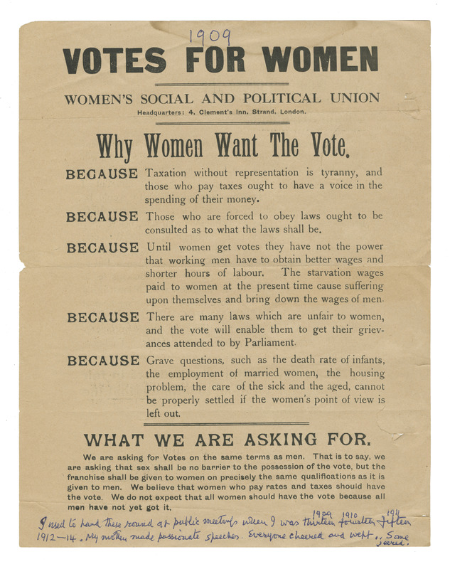 """Votes for Women"" handout."