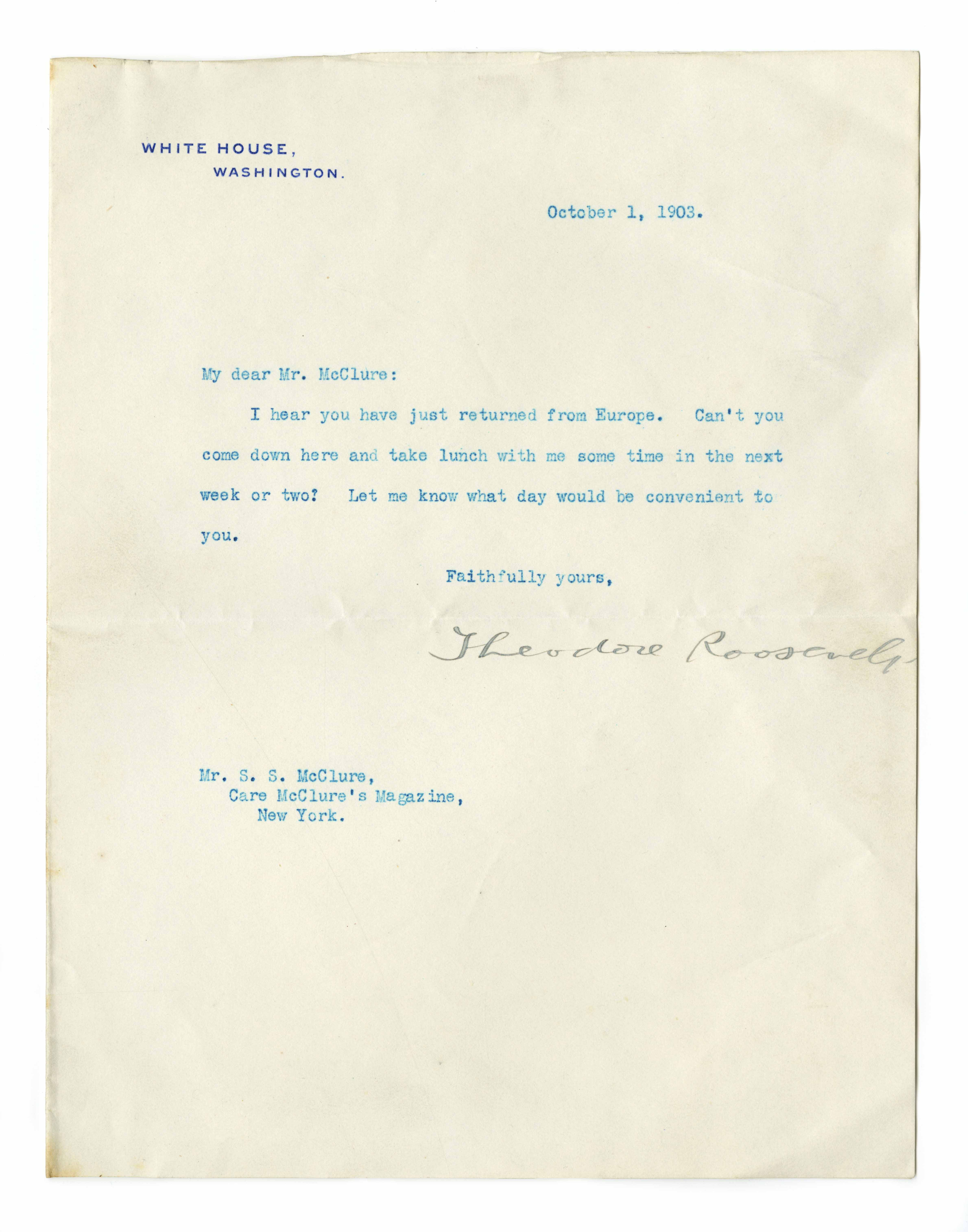Letter from Theodore Roosevelt to S. S. McClure, October 1, 1903.