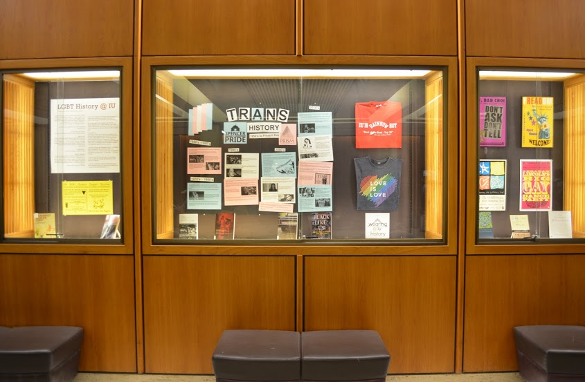 photograph of lgbt history month display in the lobby of the herman b wells library, indiana university