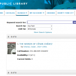 Screenshot of Denver Public Library record