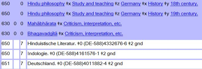 MARC bibliographic record showing subject fields with URIs in the 0 subfields