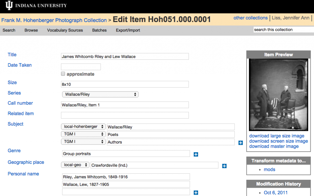 Screenshot of the Image Collection Online cataloging tool. The web form include fields for title, subjects, etc. A thumbnail of the digital object (an image) and an option for transforming the metadata to MODS are included.