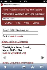 Victorian Women Writers Project Mobile