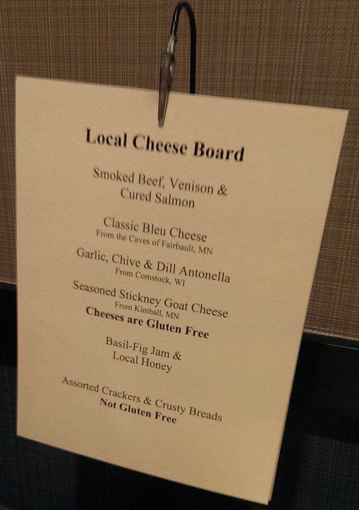 menu for afternoon snack at Confab Central, featuring local cheeses