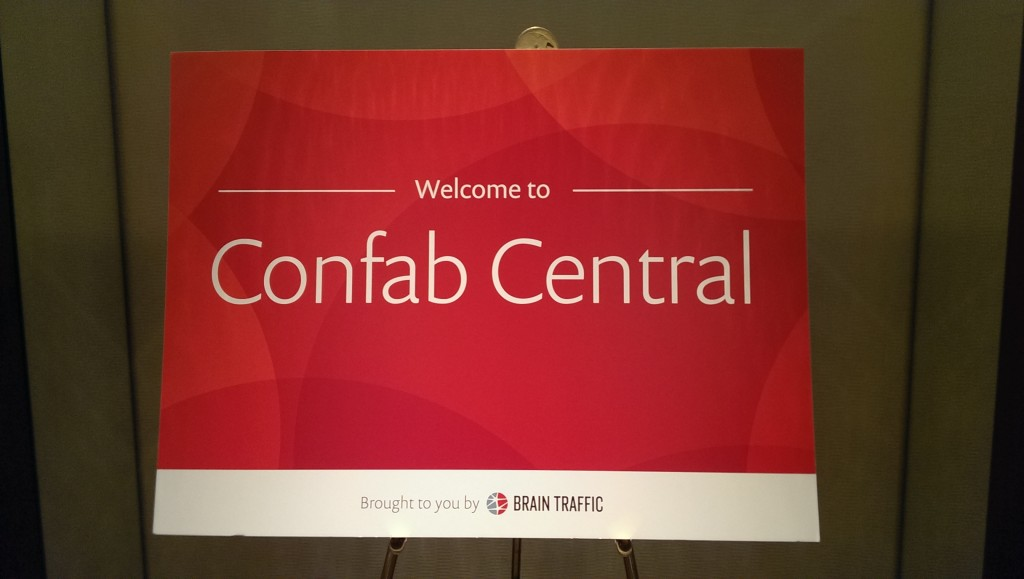 """sign reading """"Welcome to Confab Central"""""""