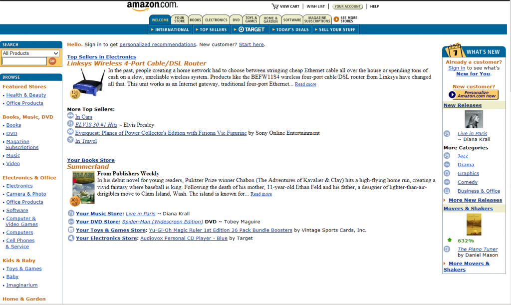 amazon.com home page in 2002