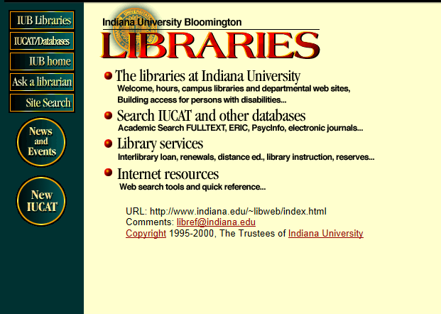 Libraries' home page in 2001
