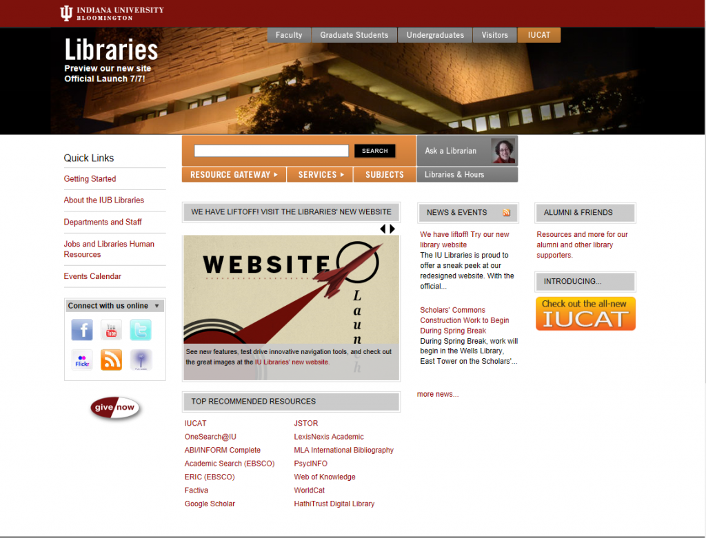 Libraries' home page in 2014, pre-migration
