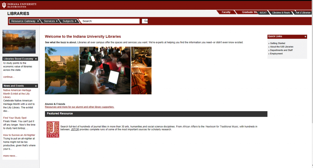 Libraries' home page in 2007
