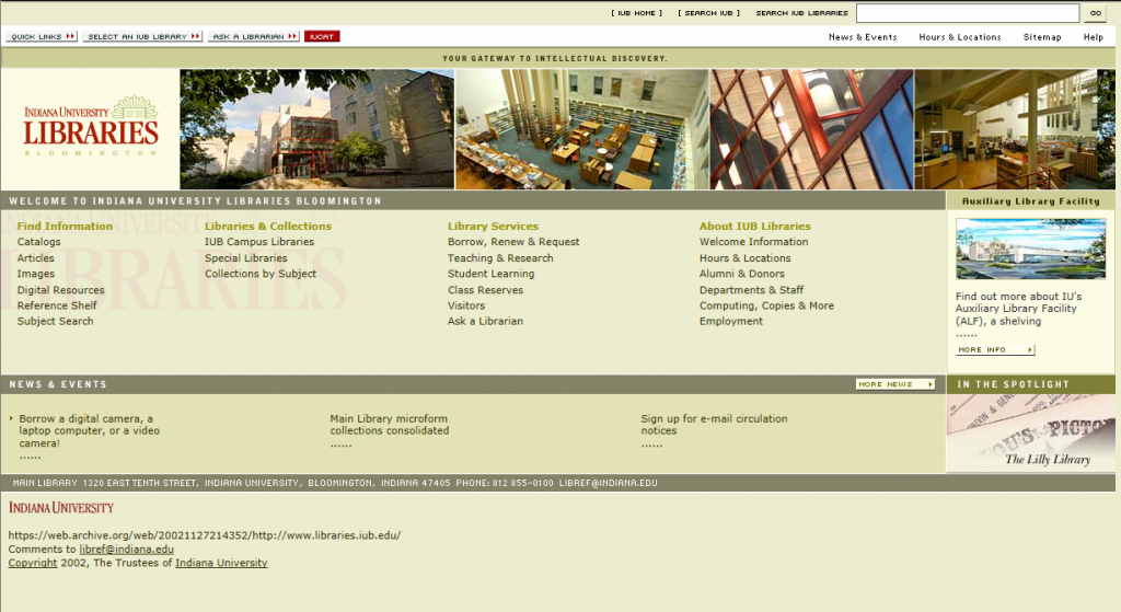Libraries' home page in Nov. 2002