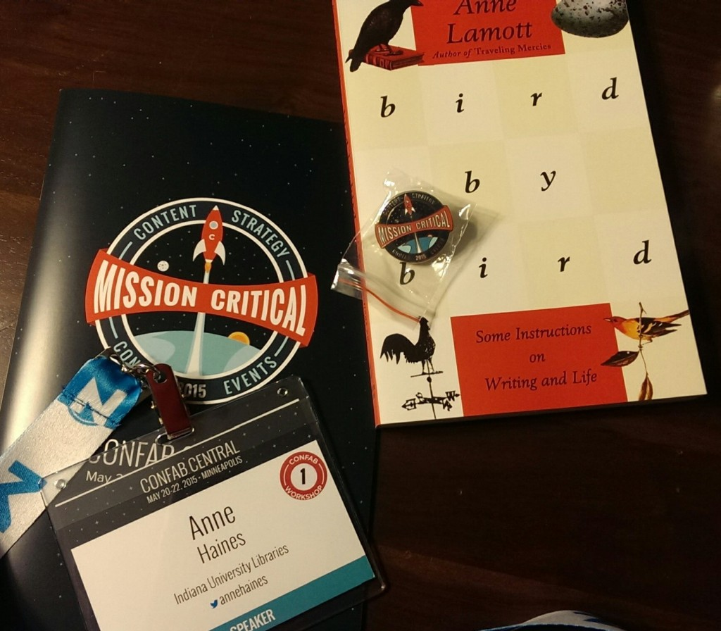 Confab program, name badge, and other swag