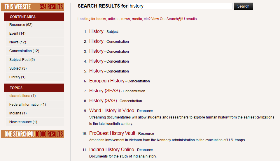 "screenshot of website search results for ""history"""